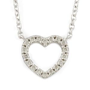 TIFFANY&Co. 18K white gold Diamond heart Metro Necklace