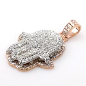 2-Tone 14K Rose Gold/White Gold 4.2ct Diamond Hamsa Pendant