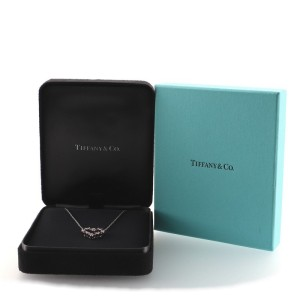 Tiffany & Co. Heart Pendant Necklace Platinum with Diamonds and Pink Sapphires Small