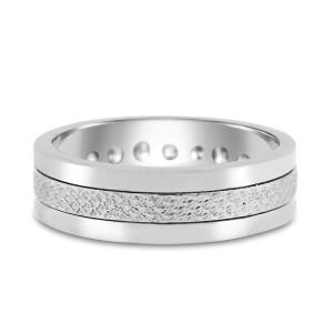 950 Platinum 0.76ct. Diamond Princess Cut Unique Wedding Band Ring Size 8