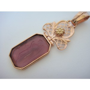 Tagliamonte Rose Gold Plated Over Sterling Silver and 14K Rose Gold with Venetian Glass Cameo Pendant