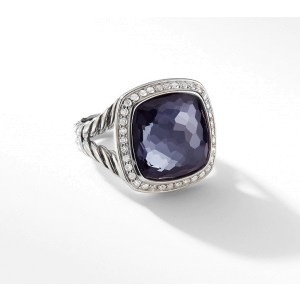 David Yurman Albion Ring with Black Orchid and Diamonds Size 7