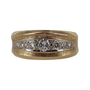 14K Yellow Gold & Diamond Florentine Band Ring Size 9.0