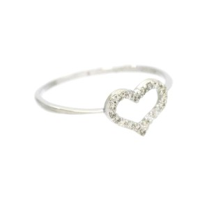 18k white gold Diamond Heart motif Ring