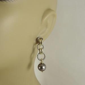 David Yurman Sterling Silver 18K Yellow Gold Tahitian Pearl Figaro Chain Drop Earrings