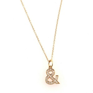 Tiffany & Co. Tiffany & Love Ampersand Pendant Necklace 18K Rose Gold with Diamonds Medium
