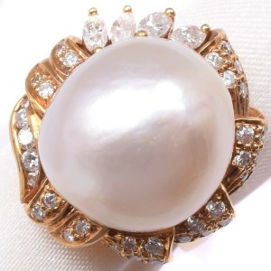 18k yellow gold/Pearl diamond Ring NST-389