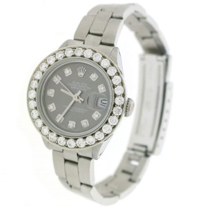 Rolex Datejust Ladies Automatic Stainless Steel 26mm Oyster Watch w/Gray Diamond Dial & 1.96Ct Bezel