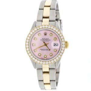 Rolex Datejust Ladies 2-Tone Gold/Steel 26MM Automatic Oyster Watch w/Pink Diamond Dial & Bezel