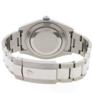 Rolex Datejust II 41MM Automatic Mens Oyster Watch 116300 w/Grey Baguette Diamond Dial & Bezel