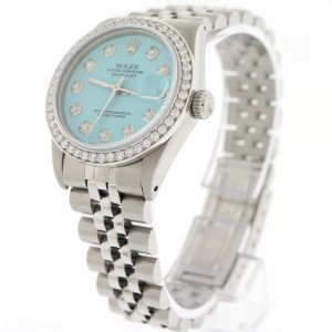 Rolex Datejust Midsize 31MM Automatic Steel Jubilee Womens Watch w/Celeste Blue Dial & Diamond Bezel