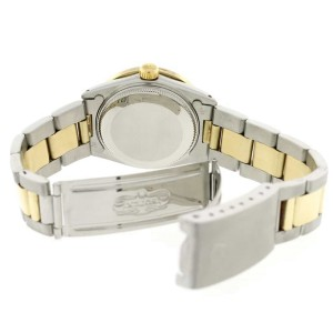 Rolex Datejust 2-Tone Gold/SS Midsize 31mm Womens Oyster Watch w/Black Diamond Dial & 1.52CT Bezel