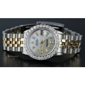 Rolex Datejust White Diamond Dial 18K Yellow Gold and Stainless Steel 31mm Watch