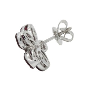 18K White Gold Ruby & Diamonds Flower Earrings