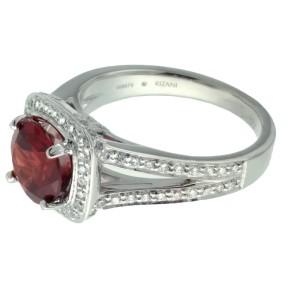 Ritani 18k White Gold Garnet .43ctw Diamond Ring Size 6.5