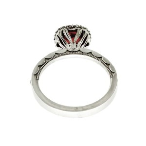 Tacori 18K White Gold Garnet .61ctw Diamond Ring Size 6.5