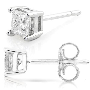 2ct.tw Princess Diamond Basket Stud Earrings 14K White or Yellow Gold - white-gold