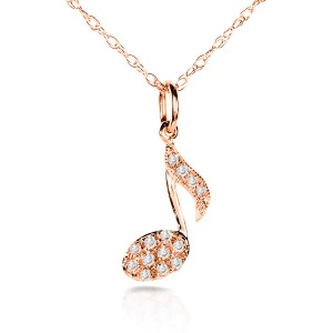 Diamond Musical Symbol (Eighth Note) Pendant & Chain in 14K White Gold - rose-gold