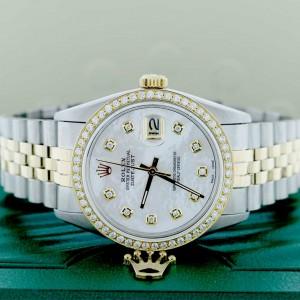 Rolex Datejust 2-Tone 18K Yellow Gold & Stainless Steel Diamond Bezel/Dial 36MM Automatic Jubilee Mens Watch