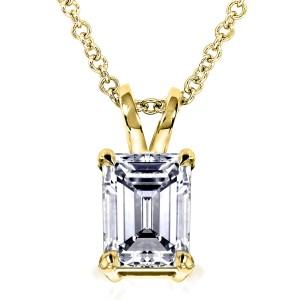 Emerald-Cut Diamond Pendant 1 Carat (ctw) in 14K Gold - yellow-gold