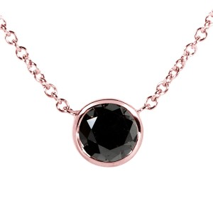 """Black Diamond Solitaire 1 Carat Round Bezel Necklace in 14K Gold (16"""" Chain) - rose-gold"""