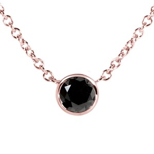 "Black Diamond Solitaire 1/4 Carat Round Bezel Necklace in 14K Rose Gold (16"" Chain)"