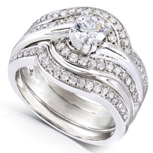 Round Diamond 3-piece Bridal Ring Set 7/8 Carat (ctw) in 14k White Gold