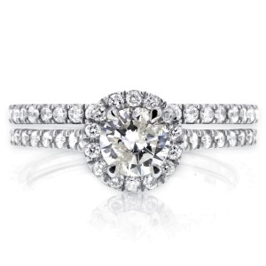 Round Halo Style Diamond Bridal Set 7/8 CTW in 14k White Gold