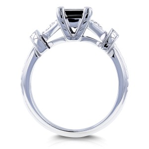Black Princess Diamond Vintage Ring 1 1/8 CTW in 14k White Gold
