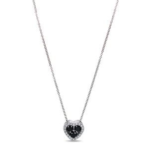 "Black and White Diamond Heart Shape Pendant 2/5 Carat (ctw) in 10k Gold (16"" Chain) - white-gold"