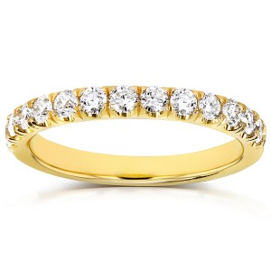 Diamond Comfort Fit Flame French Pave Band 1/2 carat (ctw) in 18k Yellow Gold - 11.0