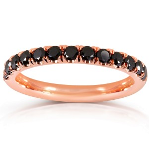 Black Diamond Comfort Fit Flame French Pave Band 1/2 carat (ctw) in 14K Rose Gold - 11.0