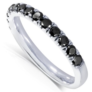 Black Diamond Comfort Fit Flame French Pave Band 1/2 carat (ctw) in 14K White Gold - 11.0