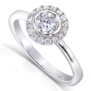 Round Bezel Diamond and Halo Engagement Ring 1/2 Carat (ctw) in 14k White Gold - 11.0