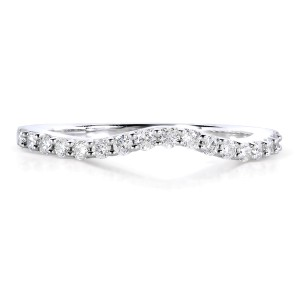 Curved Round Diamond Wedding Band Ring 1/4 Carat (ctw) in 14K White Gold - 11.0