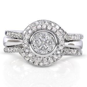 Round-Cut Cluster Diamond Bridal Set 1/2 Carat (ctw) in 10k White Gold (3 Piece Set) - 6.0