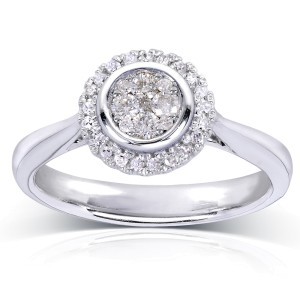 Round Cluster and Halo Diamond Engagement Ring 1/4 Carat (ctw) in 10k White Gold - 6.0
