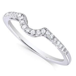 Round Diamond Curved Wedding Band 1/6 Carat (ctw) in 10K White Gold - 11.0