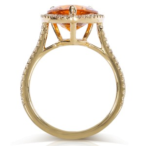 Pear Citrine and Diamond Halo Ring 10k Yellow Gold (4 1/10  CTW)