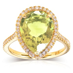 Pear-Shape Lime Quartz and Diamond Engagement Ring 4 1/3  Carat (ctw) in 10k Yellow Gold