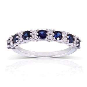 Diamond and Blue Sapphire Band 1 carat (ctw) in 14k White Gold