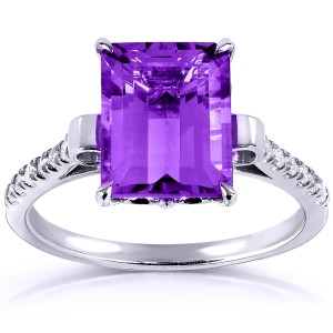 Emerald-cut Amethyst & Diamond Ring 2 2/5 Carat (ctw) in Silver with 14K Plated Gold - 11.0