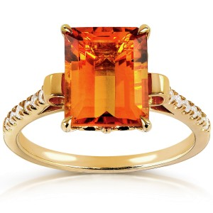 Emerald Citrine and Diamond Ring 14k Gold Plated Silver (2-5/8 CTW) - 11.0