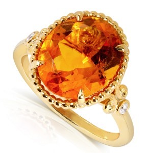 Oval-Shape Orange Citrine and Diamond Ring 4 Carat (ctw) in Silver with 14k Gold Plated - 11.0
