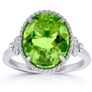 Oval Peridot and Diamond 14k White Gold Plated Silver Ring (4 4/5 CTW) - 11.0