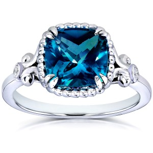 Cushion-cut London Blue Topaz and Diamond Engagement Ring 2 1/3 Carat (ctw) in Silver with 14k Plated - 11.0