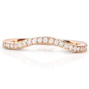 Round-cut Curved Diamond Band 1/5 Carat (ctw) in 14k Rose Gold