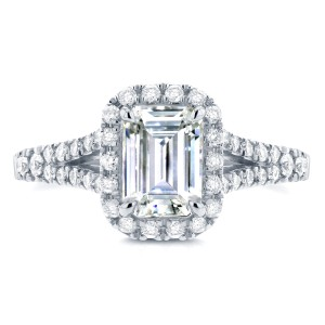 Emerald Cut Diamond Halo Engagement Ring 1 5/8 CTW in 14k White Gold