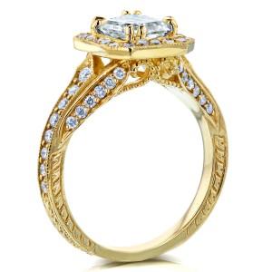 Antique Asscher Diamond Engagement Ring 1 3/5 CTW in 14k Yellow Gold