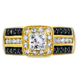 Three-Row Princess White and Black Diamond Halo Engagement Ring 1 CTW in 14k Yellow Gold